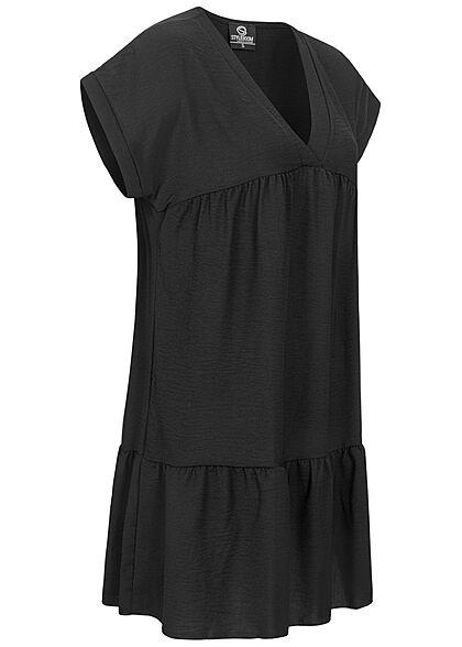 Styleboom Fashion Damen V-Neck Stufen Kleid schwarz
