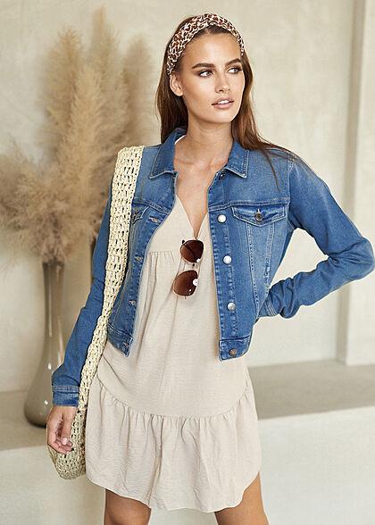 Styleboom Fashion Damen V-Neck Stufen Kleid beige