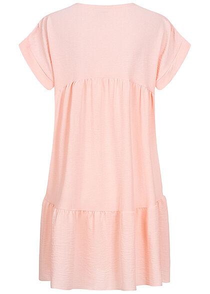 Styleboom Fashion Damen V-Neck Stufen Kleid hell rosa