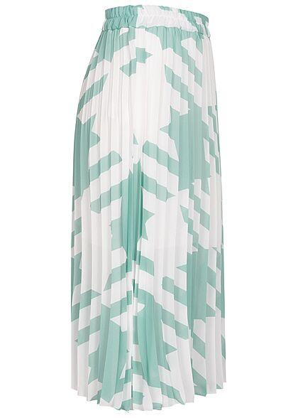 Styleboom Fashion Damen Longform Rock Hahnentritt Muster 2-lagig weiss grün
