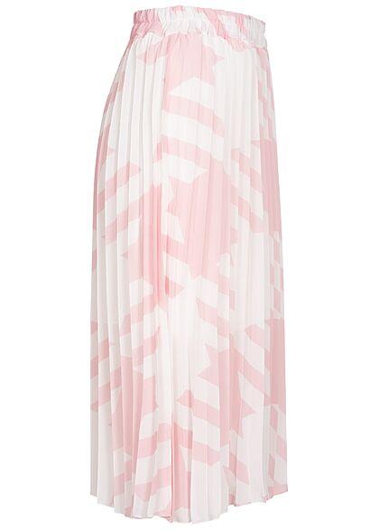 Styleboom Fashion Damen Longform Rock Hahnentritt Muster 2-lagig weiss hell rosa
