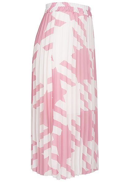 Styleboom Fashion Damen Longform Rock Hahnentritt Muster 2-lagig weiss d. rosa