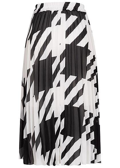 Styleboom Fashion Damen Longform Rock Hahnentritt Muster 2-lagig weiss schwarz