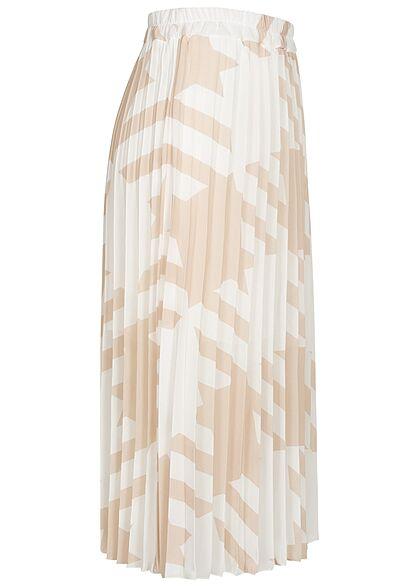 Styleboom Fashion Damen Longform Rock Hahnentritt Muster 2-lagig weiss beige