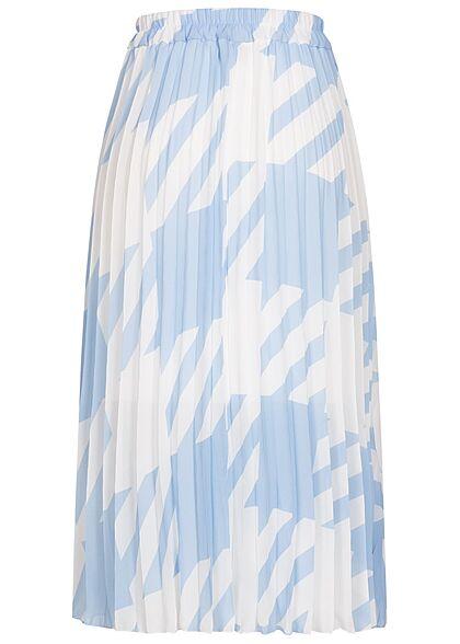 Styleboom Fashion Damen Longform Rock Hahnentritt Muster 2-lagig weiss hell blau