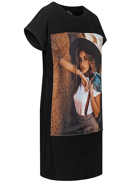 Styleboom Fashion Damen T-Shirt Kleid Woman Hat Print schwarz