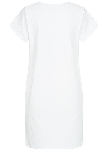 Styleboom Fashion Damen T-Shirt Kleid Woman Hat Print weiss