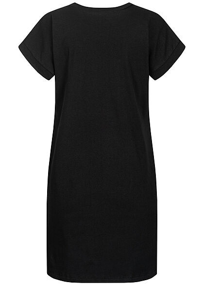 Styleboom Fashion Damen T-Shirt Kleid Woman Hair Print schwarz