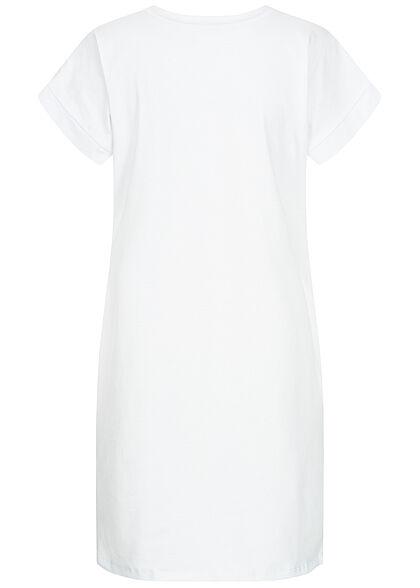 Styleboom Fashion Damen T-Shirt Kleid Woman Hair Print weiss