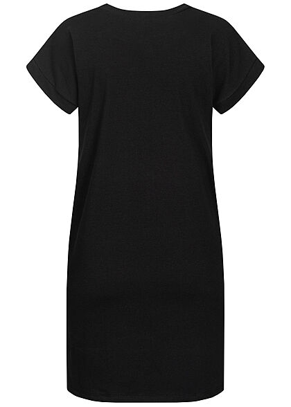 Styleboom Fashion Damen T-Shirt Kleid Woman Picture Print schwarz