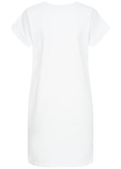 Styleboom Fashion Damen T-Shirt Kleid Woman Picture Print weiss