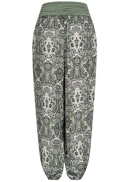Styleboom Fashion Damen Harem Sommer Stoffhose Azteken Print khaki