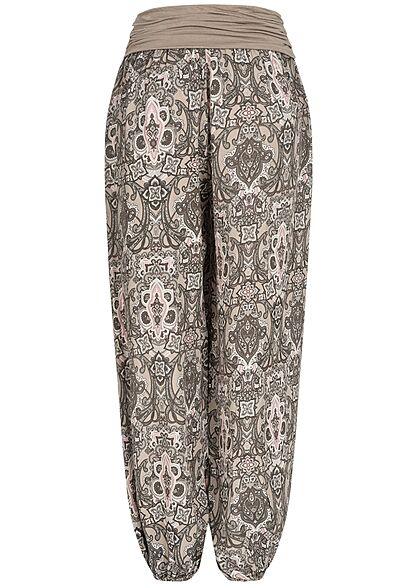 Styleboom Fashion Damen Harem Sommer Stoffhose Azteken Print fango braun