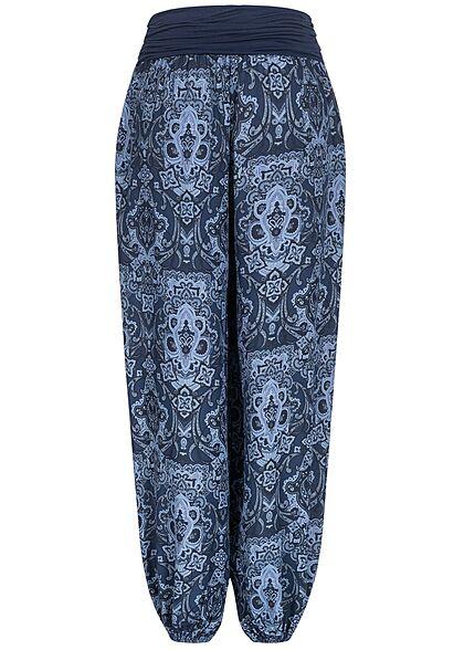 Styleboom Fashion Damen Harem Sommer Stoffhose Azteken Print navy blau