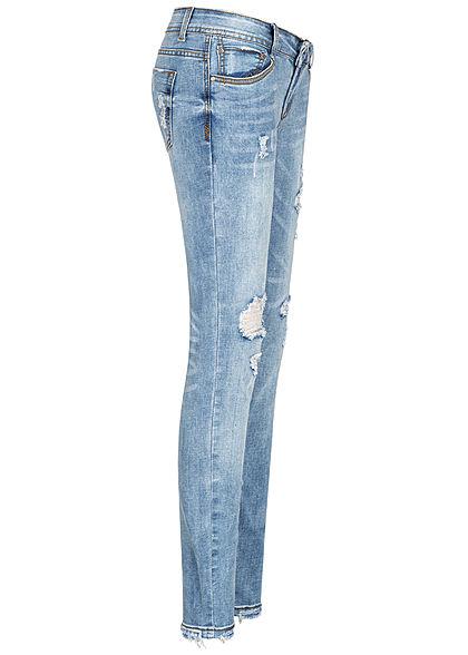 Seventyseven Lifestyle Damen Skinny Jeans Hose Destroy Look 5-Pockets hellblau denim