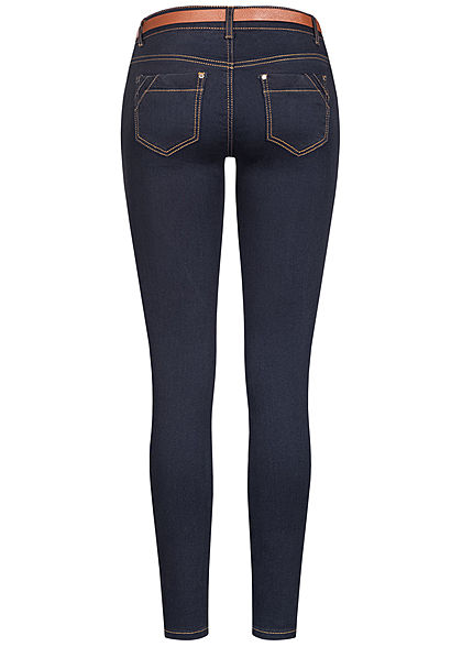 Seventyseven Lifestyle Damen Skinny Jeans Hose 5-Pockets inkl. Gürtel dunkel blau denim