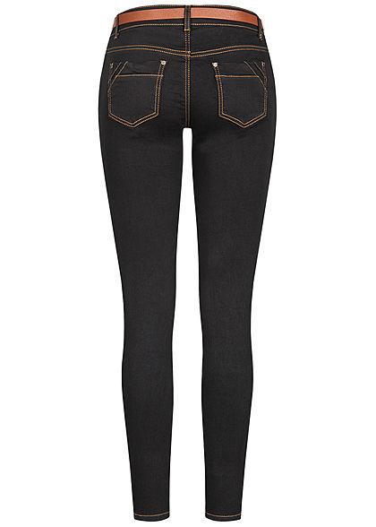 Seventyseven Lifestyle Damen Skinny Jeans Hose 5-Pockets inkl. Gürtel schwarz denim