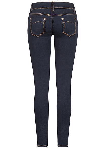 Seventyseven Lifestyle Damen Skinny Jeans Hose 5-Pockets Kontrastnähte dunkel blau den.