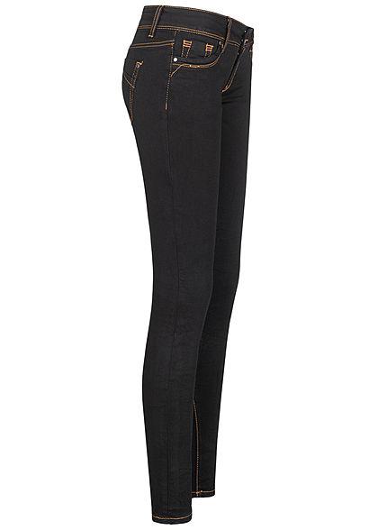 Seventyseven Lifestyle Damen Skinny Jeans Hose 5-Pockets Kontrastnähte schwarz denim