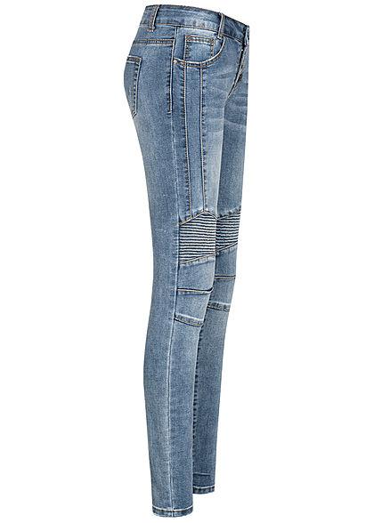 Seventyseven Lifestyle Damen Biker Jeans Hose Knopfleiste 5-Pockets stone hellblau denim