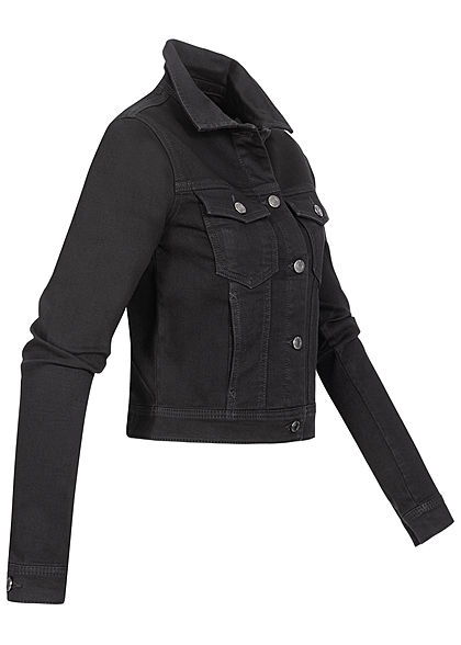 Seventyseven Lifestyle Damen kurze Jeans Jacke Knopfleiste 4-Pockets jet black schwarz