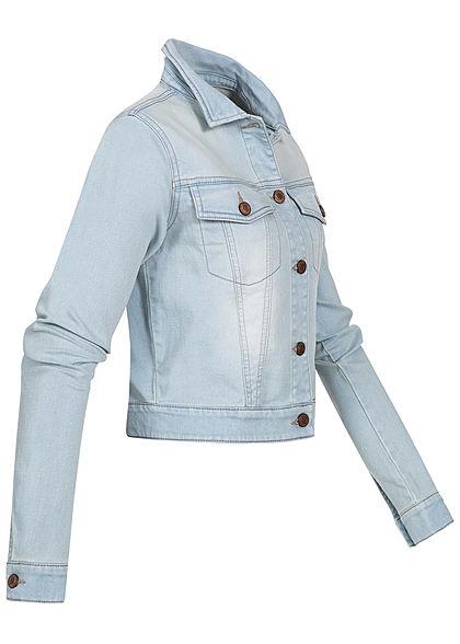 Seventyseven Lifestyle Damen kurze Jeans Jacke Knopfleiste 2 Brusttaschen hell blau denim