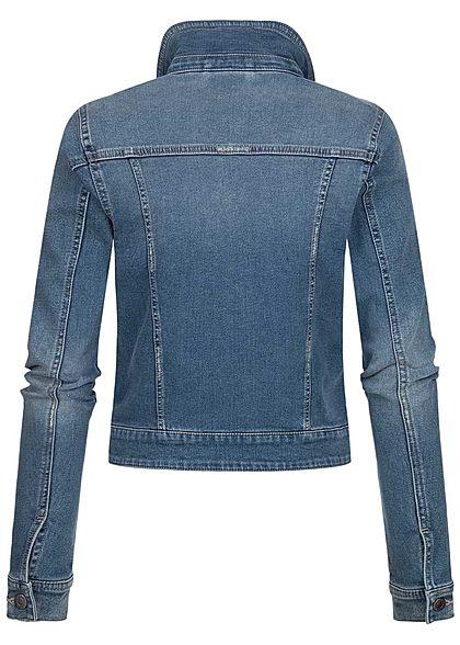 Seventyseven Lifestyle Damen kurze Jeans Jacke Knopfleiste 2-Pockets medium blau denim