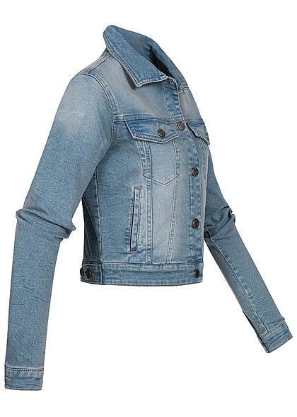 Seventyseven Lifestyle Damen kurze Jeans Jacke Knopfleiste 4-Pockets washed hell blau