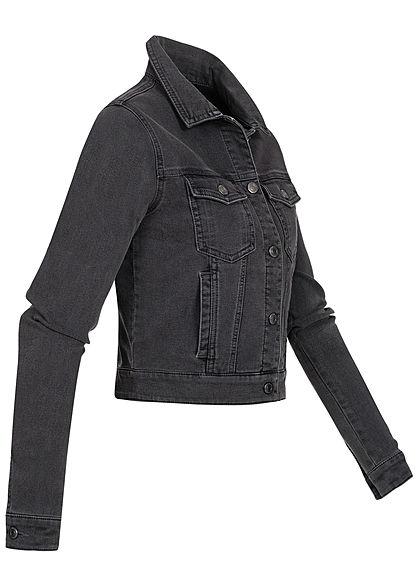 Seventyseven Lifestyle Damen kurze Jeans Jacke Knopfleiste 4-Pockets dunkel grau denim