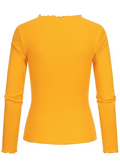 Seventyseven Lifestyle Damen Ribbed Frill Longsleeve mit Wellendetails am Saum gelb