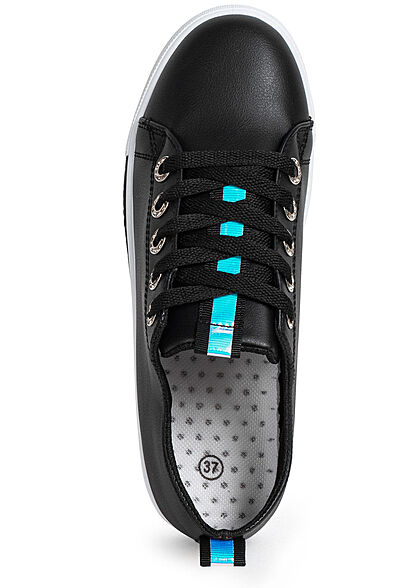 Seventyseven Lifestyle Damen Schuh Sneaker Kunstleder Holo Optik schwarz