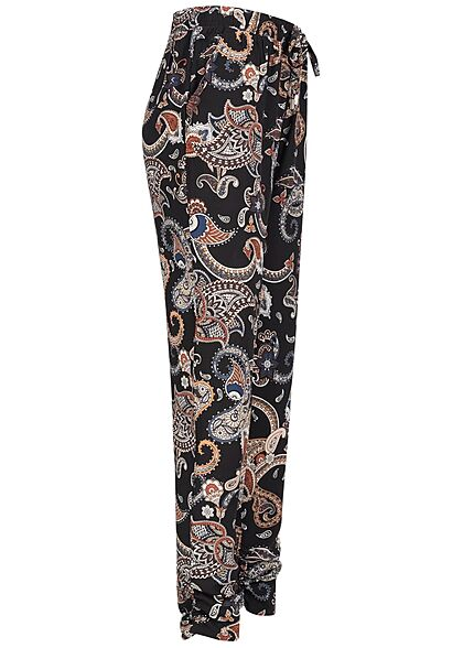 Hailys Damen Viskose Stoffhose Gummibund Paisley Print schwarz multicolor