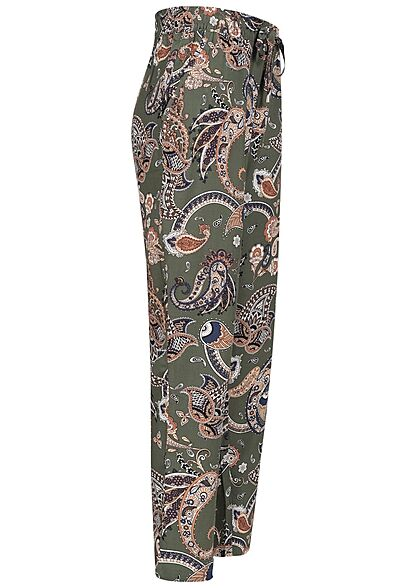 Hailys Damen Viskose Stoffhose Gummibund Paisley Print khaki grün weiss