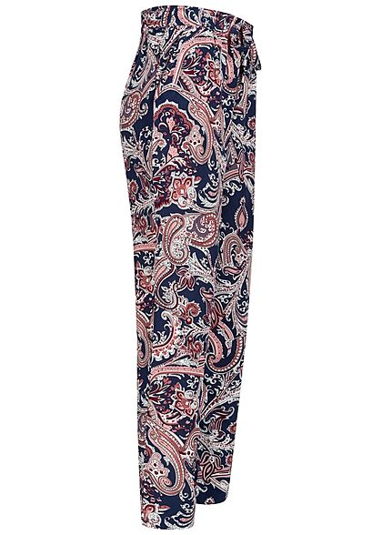 Hailys Damen Viskose Stoffhose Gummibund Paisley Print navy blau rosa