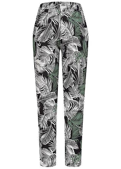 Hailys Damen Viskose Stoffhose Gummibund Tropical Print schwarz grün weiss