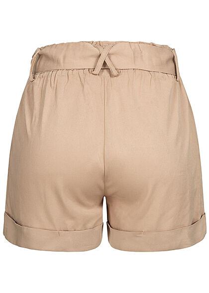 Hailys Damen Bermuda Shorts inkl. Bindegürtel Beinumschlag beige