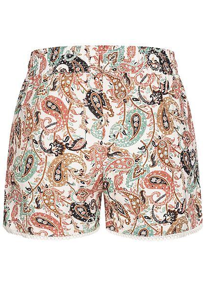 Hailys Damen kurze Viskose Shorts Gummibund Paisley Print weiss rosa grün