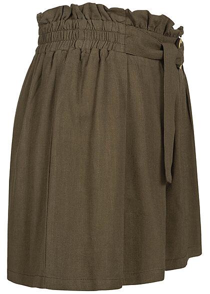 Hailys Damen Paperbag Shorts Bindedetail Holzring Leinen Optik khaki grün