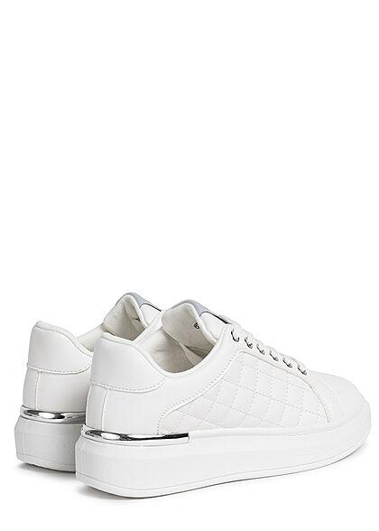 Seventyseven Lifestyle Damen Schuh Kunstleder Plateau Sneaker Quilted Optik weiss