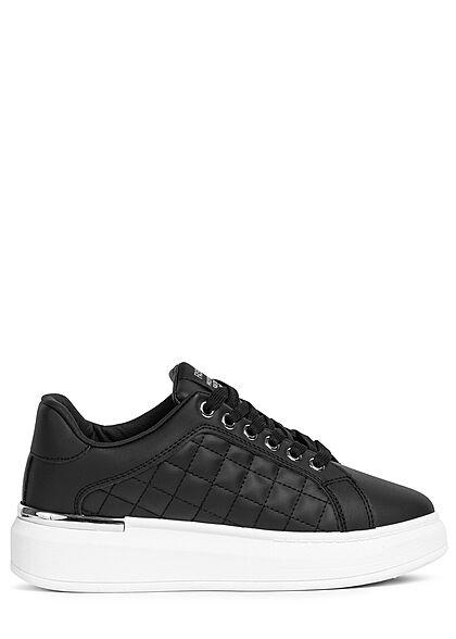 Seventyseven Lifestyle Damen Schuh Kunstleder Plateau Sneaker Quilted Optik schwarz