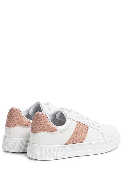 Seventyseven Lifestyle Damen Schuh Kunstleder Sneaker in Quilted Optik weiss rosa pink