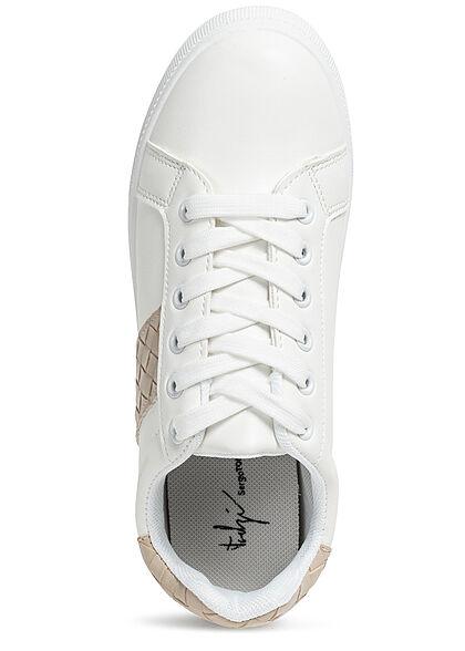 Seventyseven Lifestyle Damen Schuh Kunstleder Sneaker in Quilted Optik weiss beige