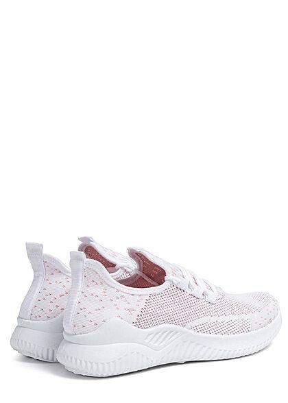 Seventyseven Lifestyle Damen Schuh Running Mesh Sneaker Punkte Muster weiss rosa