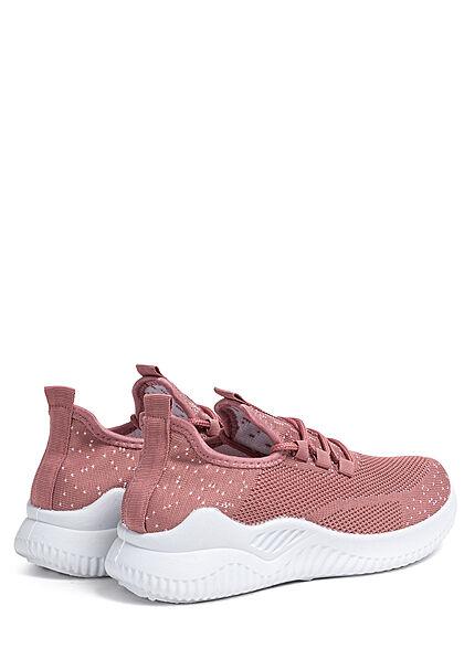 Seventyseven Lifestyle Damen Schuh Running Mesh Sneaker Punkte Muster dunkel pink