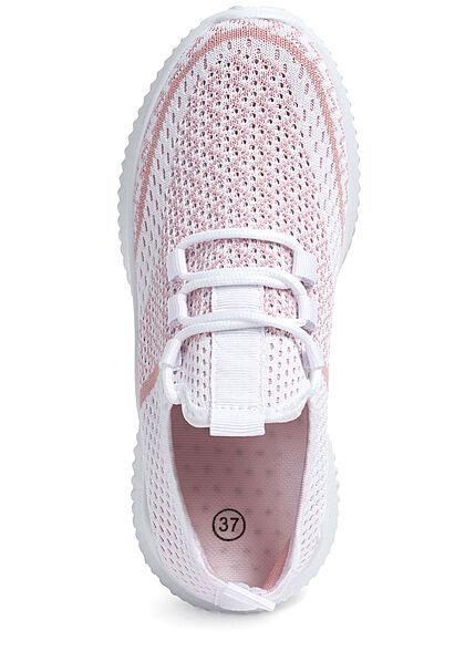 Seventyseven Lifestyle Damen Schuh 2-Tone Running Mesh Sneaker weiss rosa