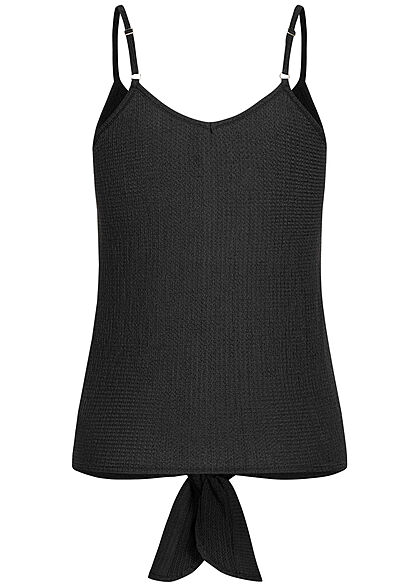 Hailys Damen Ribbed V-Neck Top Bindedetail vorne Knopfleiste schwarz