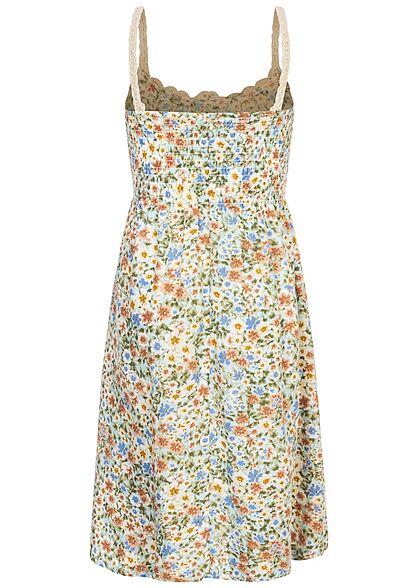 Hailys Kids Mädchen V-Neck Kleid mit Häkelbesatz oben Blumen Muster soft grün