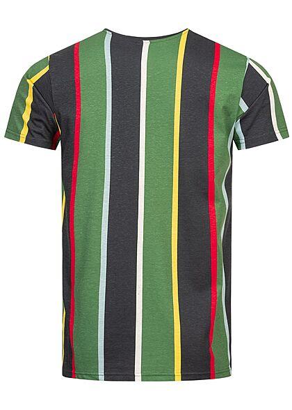 Sublevel Herren T-Shirt Streifen Logo Print navy blau foliage grün