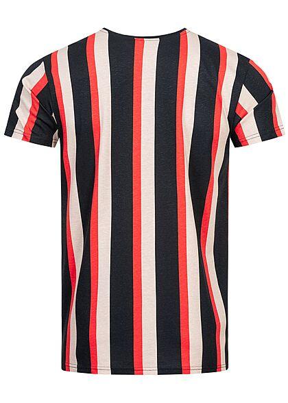 Sublevel Herren T-Shirt Streifen Logo Print night navy blau sand beige