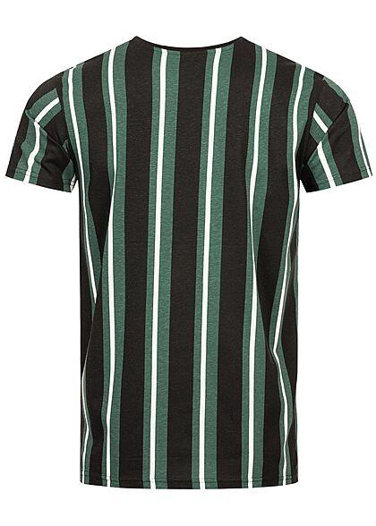 Sublevel Herren T-Shirt Streifen Logo Print schwarz steel dunkel grün